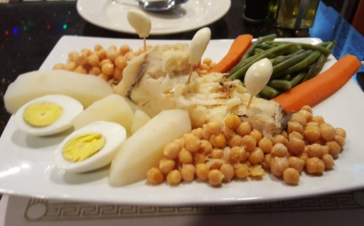 Boiled Codfish w/Chickpeas, potatoes, and Eggs