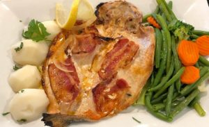 Oven Roasted Trout w/Bacon.